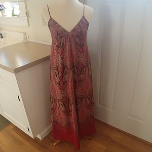 GAP Red & Brown Paisley Strappy Maxi Dress